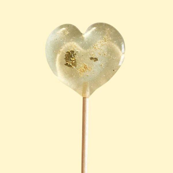 sucette forme coeur paillettes or